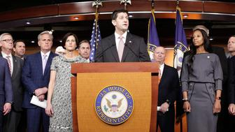 Speaker of the House Paul Ryan (R-WI) speaks about healthcare reform with House Republicans during a press briefing on Capitol Hill in Washington, U.S., April 6, 2017.      REUTERS/Joshua Roberts