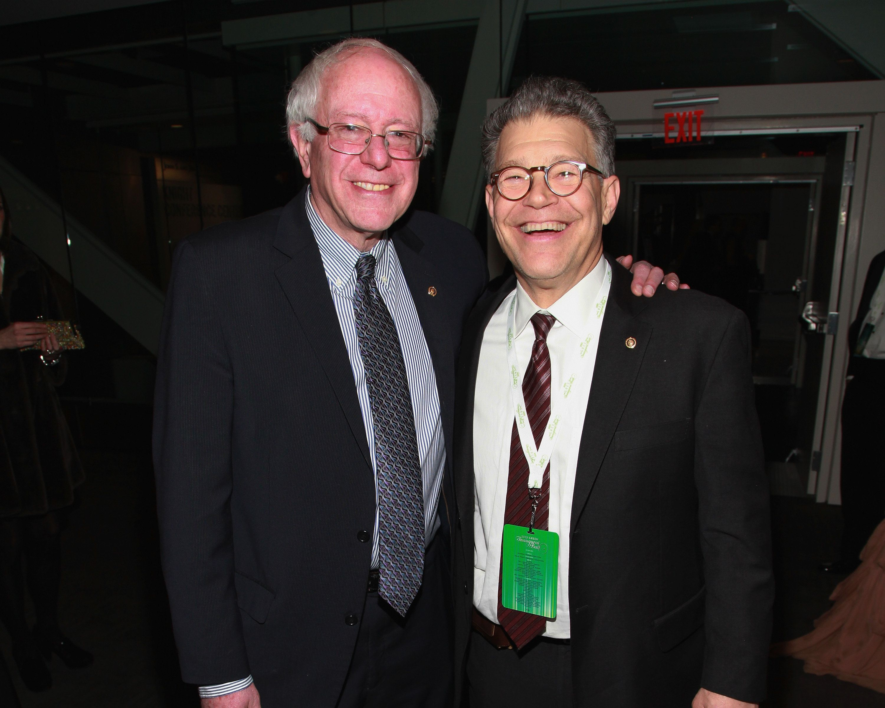 WASHINGTON, DC - JANUARY 20:  Senators Bernie Sanders, I-Vermont, and Al Franken, D-Minnesota, attend theq 2013 Green Inaugural Ball at NEWSEUM on January 20, 2013 in Washington, DC.  (Photo by Taylor Hill/Getty Images)