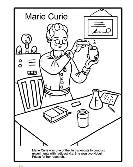 "Print for free at <a href=""https://www.education.com/worksheet/article/marie-curie-coloring-page/"" target=""_blank"">Education."