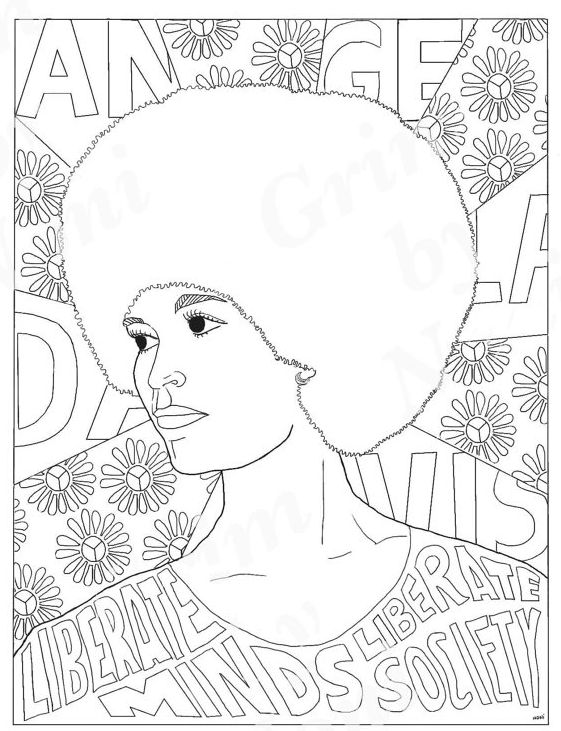 "Download for $2 at <a href=""https://www.etsy.com/listing/504315347/angela-davis-portraits-coloring-pages"" target=""_blank"">fem"