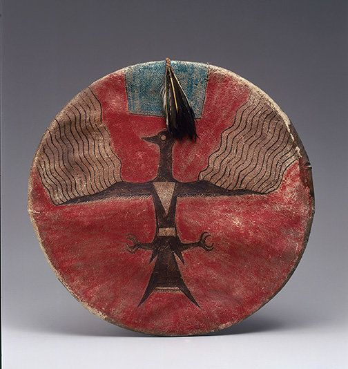 A shield by Joseph No Two Horns (He Nupa Wanica) (1852–1942) ca. 1885 from Standing Rock Reservation, North Dakota.