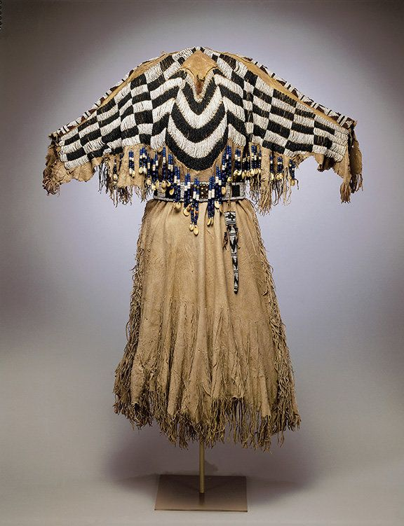 A dress and belt with an awl case by an unrecorded Wasco artist ca. 1870 in Oregon or Washington State.