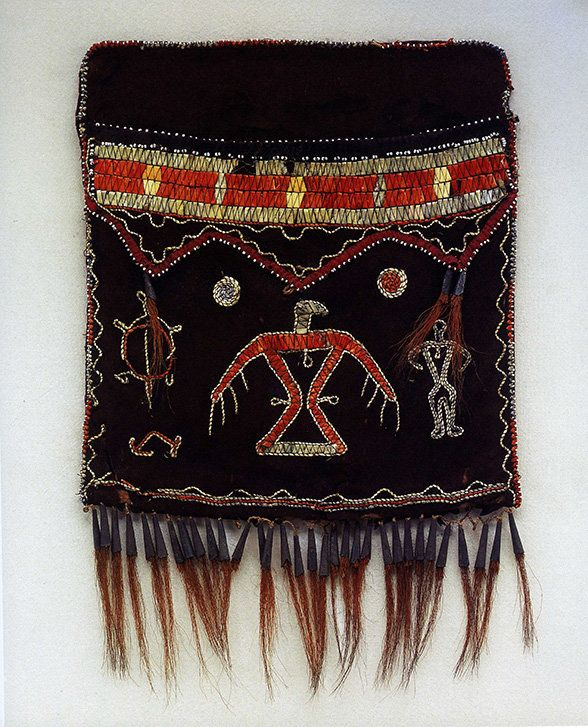 A shoulder bag made with porcupine quills by an unrecorded Anishinaabe artist ca. 1820 in Ontario.