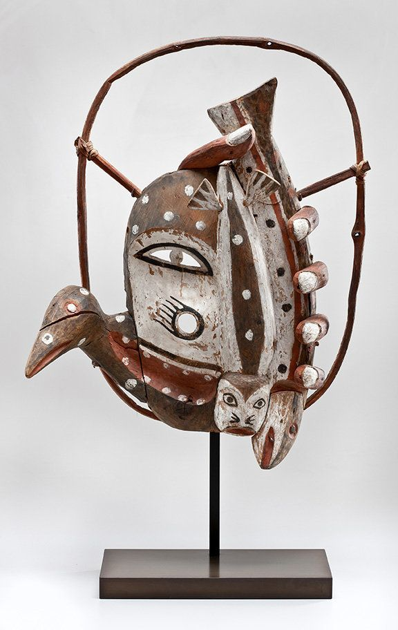 A dance mask by an unrecorded Yup'ik artist ca. 1900 in Alaska.