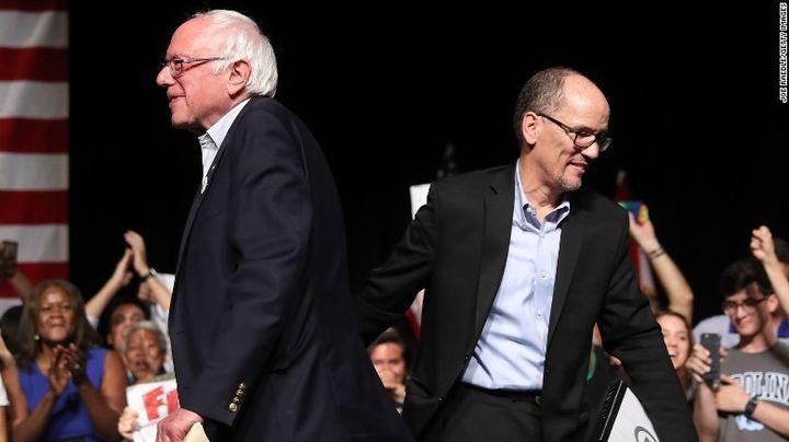 Bernie Sanders (I-VT) and Tom Perez, DNC Chair, at a rally on their Unity Tour.