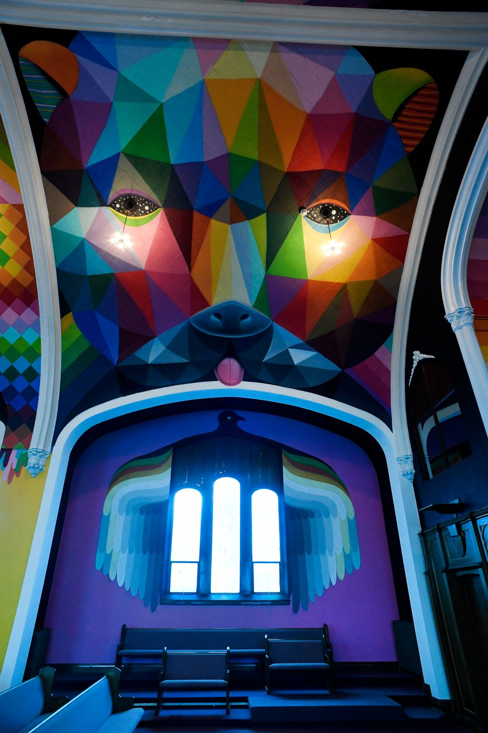 "San Miguel has painted church spaces in the past. In 2015 he transformed an abandoned Spanish church into <a href=""http://www"