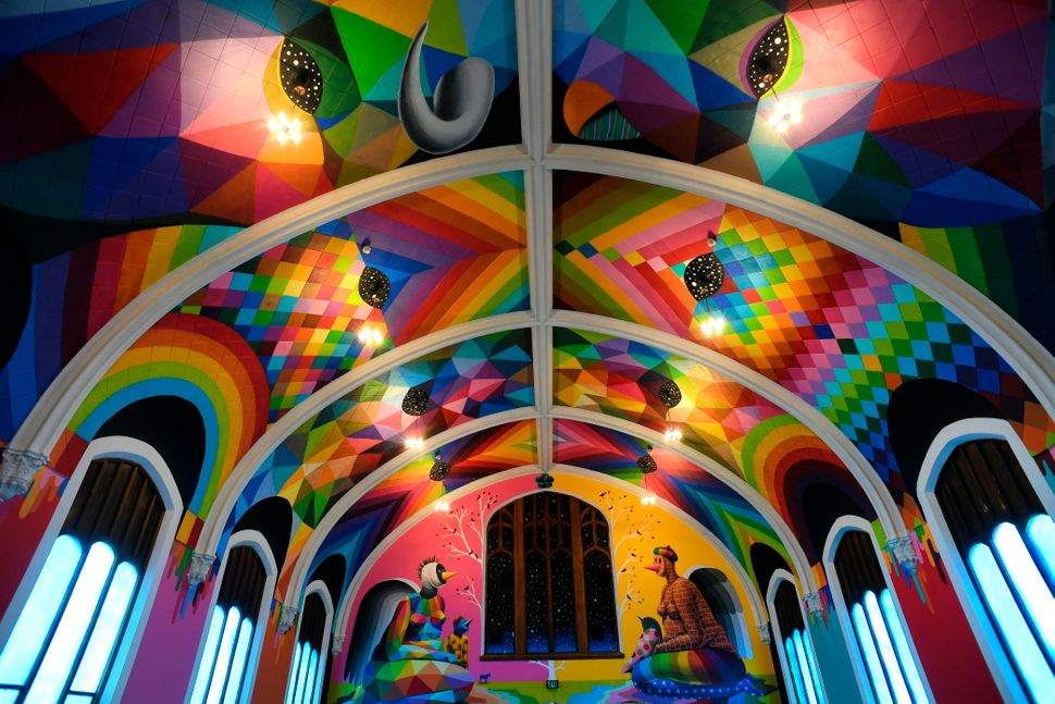 Aphoto of the interior of the International Church of Cannabis.