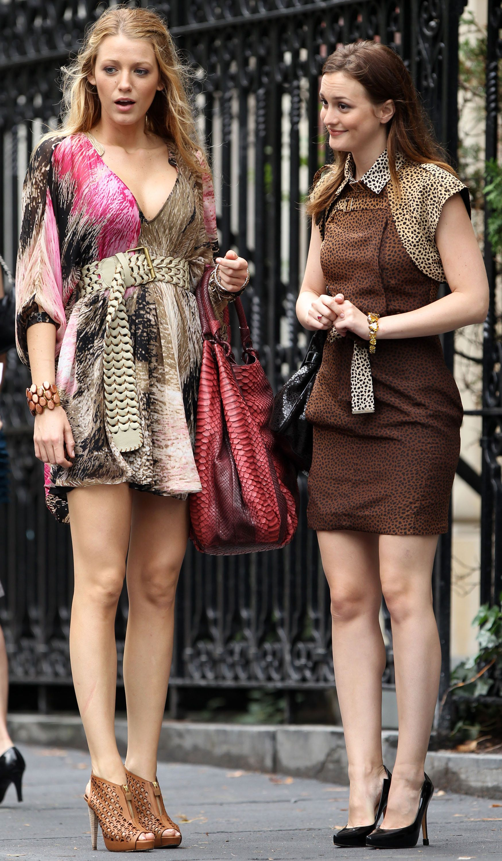Blake Lively and Leighton Meester (L-R) sighting at the Upper West Side on July 14, 2010 in New York City.