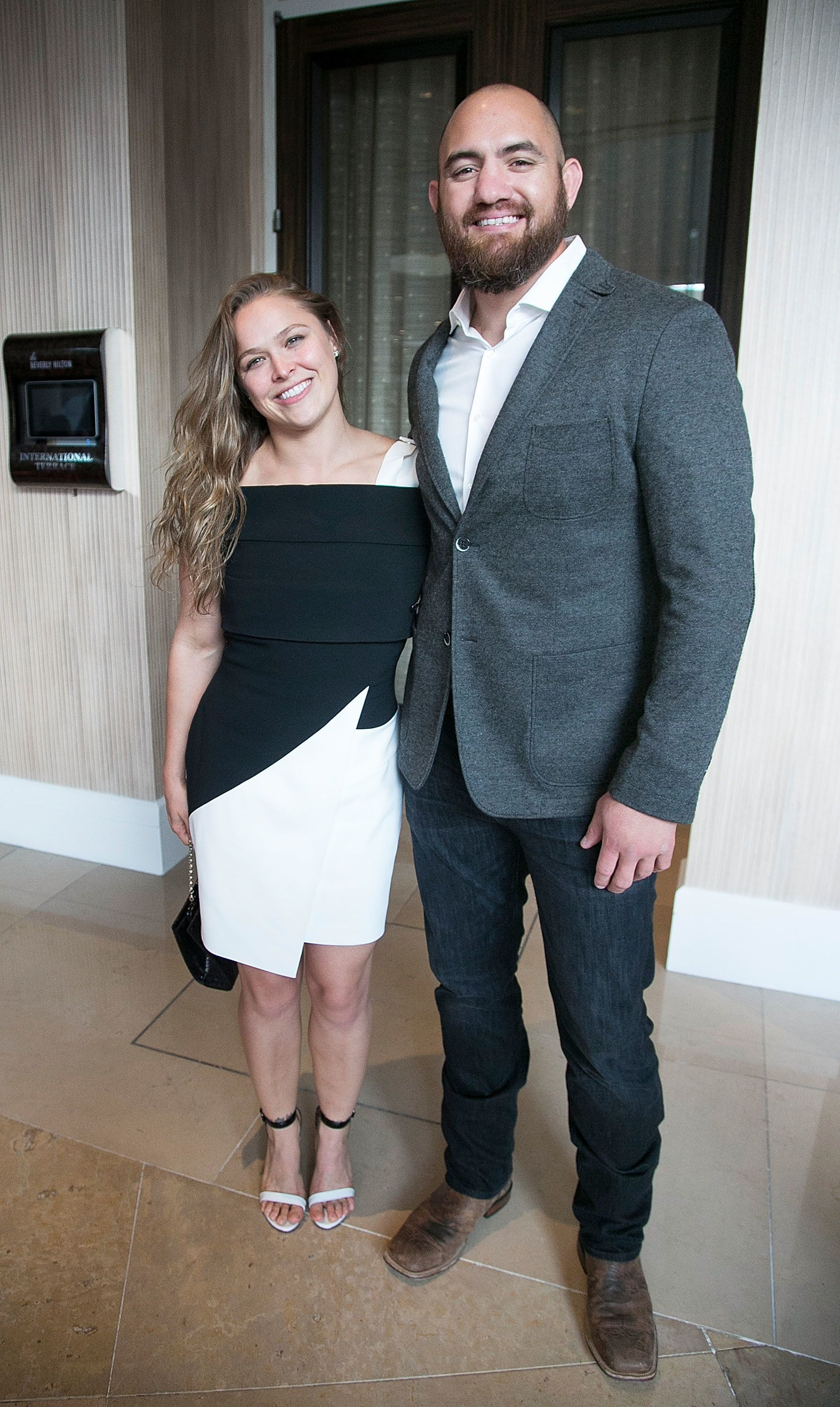 BEVERLY HILLS, CA - APRIL 28: Ronda Rousey and Travis Browne arrive for the 20th Anniversary Erasing The Stigma Leadership Awards at The Beverly Hilton Hotel on April 28, 2016 in Beverly Hills, California.  (Photo by Gabriel Olsen/WireImage)