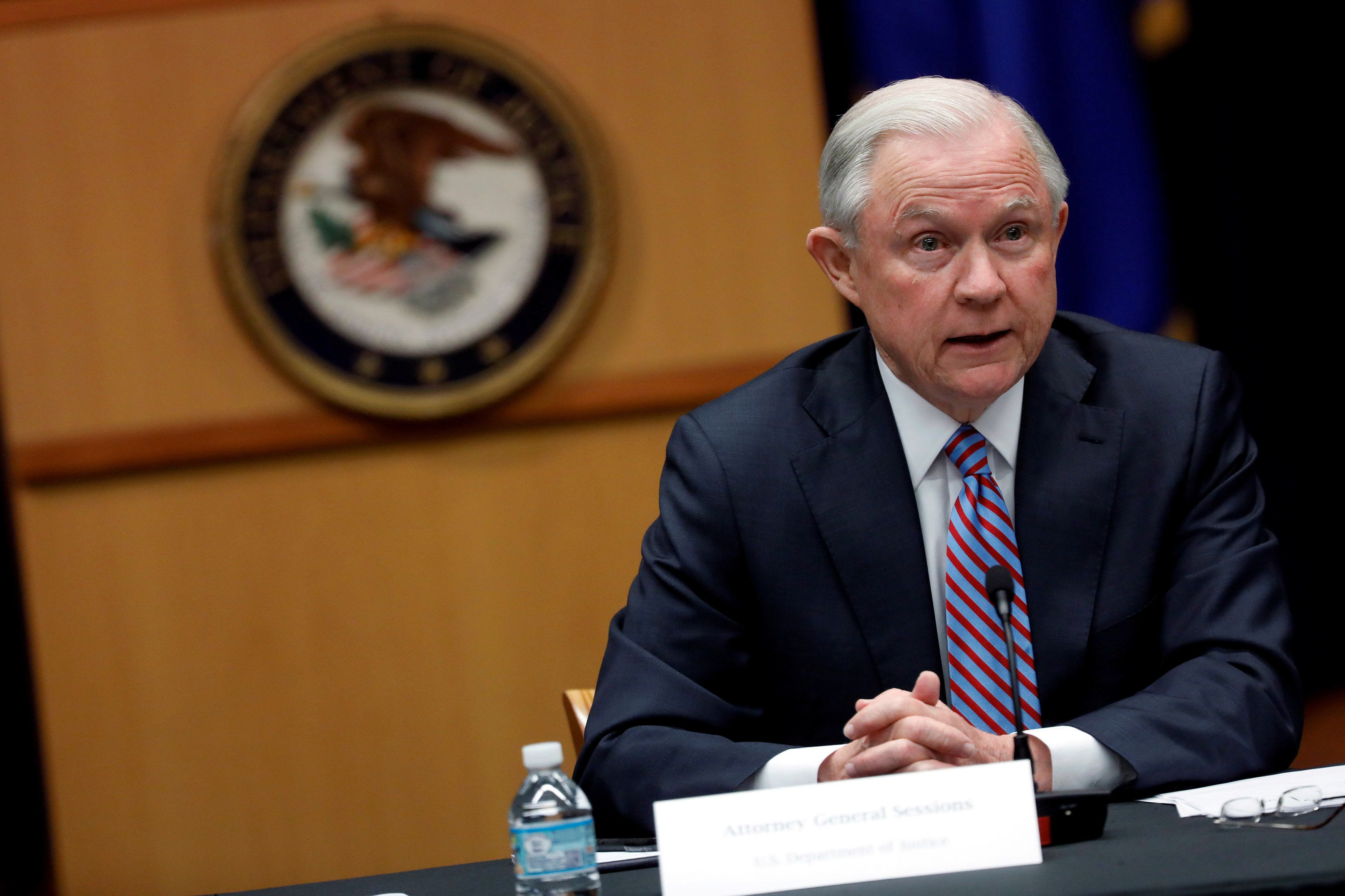 Attorney General Jeff Sessions speaks during a meeting with the Organized Crime Council and Organized Crime Drug Enforcement
