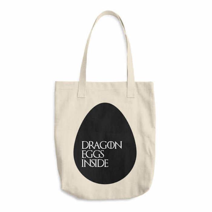 "$21, Mattercut. <a href=""https://www.etsy.com/listing/519468607/dragon-eggs-inside-game-of-thrones-bag"" target=""_blank"">Buy h"