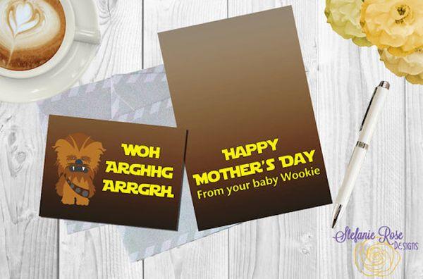 "$2.20, Stefanie Rose Designs. <a href=""https://www.etsy.com/listing/276191176/star-wars-wookie-mothers-day-a6"" target=""_blank"
