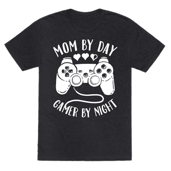 """$19.99, Look Human. <a href=""""https://www.lookhuman.com/design/87134-mom-by-day-gamer-by-night/tshirt"""" target=""""_blank"""">Buy her"""