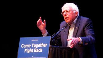 Senator Bernie Sanders speaks at the 'Come Together and Fight Back' Democratic Party rally at Verizon Center Thursday April 20, 2017 in Grand Prairie, Texas. (Rodger Mallison/Fort Worth Star-Telegram/TNS via Getty Images)