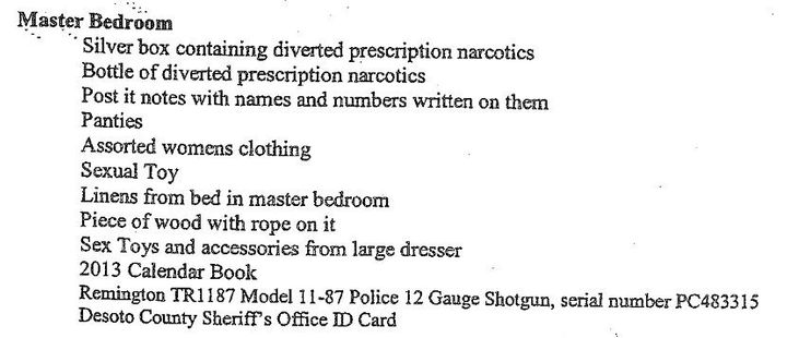 Some of the items allegedly found during a search of Mark Giannini's Memphis mansion.