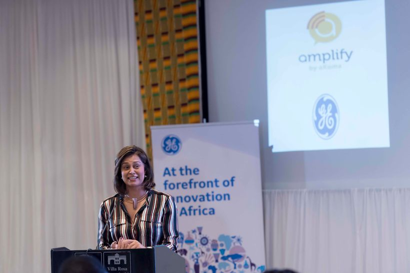 Zain Verjee speaking at the Amplify inaugural graduation in Nairobi, Kenya