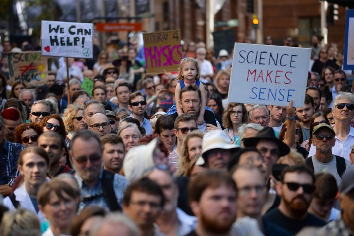Thousands of people rallied in Australia and New Zealand on Saturday in support of science, the first of more than 500 m