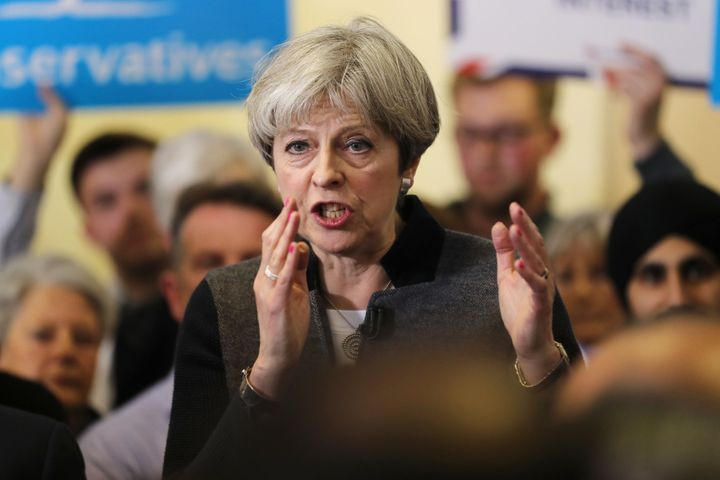Theresa May speaks in Dudley on Saturday