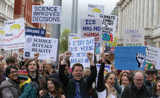 Scientists and science enthusiasts gathered for the march through central London on