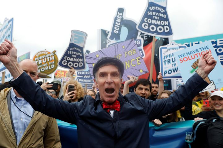 Bill Nye leads demonstrators on a march to the U.S. Capitol during the March for Science on April 22, 2017.