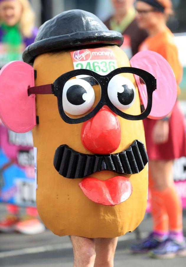 A runner dressed as Mr Potato