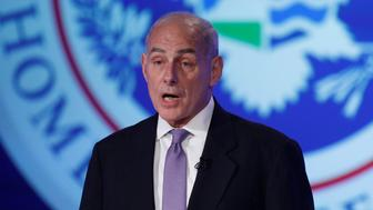 """Secretary of Homeland Security John Kelly speaks at an event entitled """"Home and Away: Threats to America and the DHS Response"""" at George Washington University in Washington, D.C., U.S. April 18, 2017.  REUTERS/Aaron P. Bernstein"""