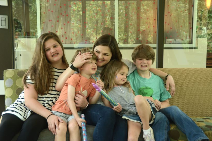 The Hall family from left, Lonna Grace 11, Liam 4, Catey 34, Evie 4, and Joseph 9.