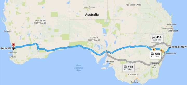 Several possible routes one might take from Kendall to Perth.