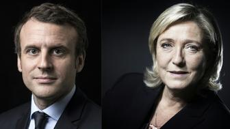 A combination of pictures made on April 23, 2017 shows French presidential election candidate for the En Marche ! movement Emmanuel Macron (L) and French presidential election candidate for the far-right Front National (FN) party Marine Le Pen (R) posing in Paris. Far-right leader Marine Le Pen and centrist Emmanuel Macron were on course April 23 to qualify for the runoff in France's presidential election, initial projections suggested.  / AFP PHOTO / Eric FEFERBERG AND JOEL SAGET        (Photo credit should read ERIC FEFERBERG,JOEL SAGET/AFP/Getty Images)