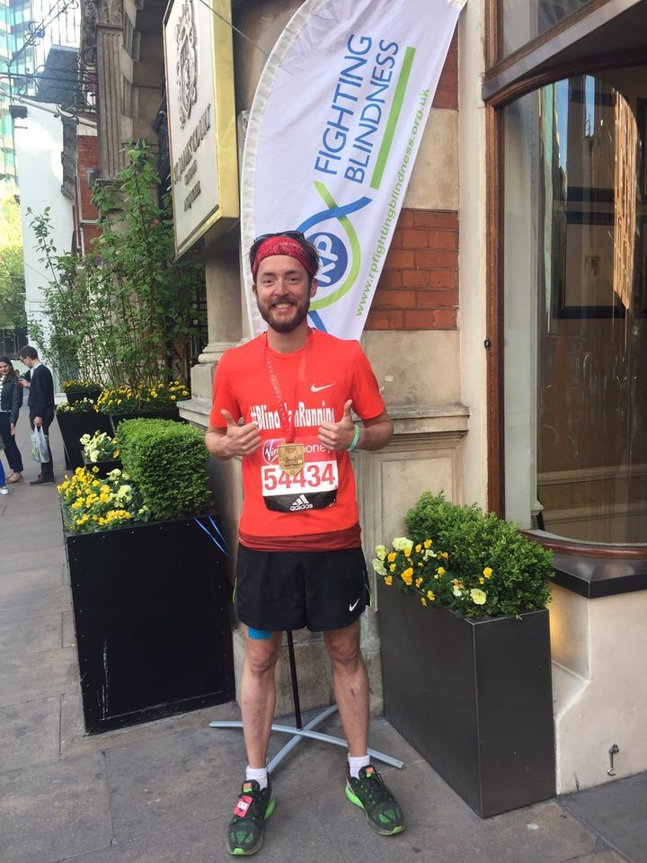 Alex Innes after his London Marathon run in aid of RP Fighting Blindness, completed in 5 hrs and 24 minutes.