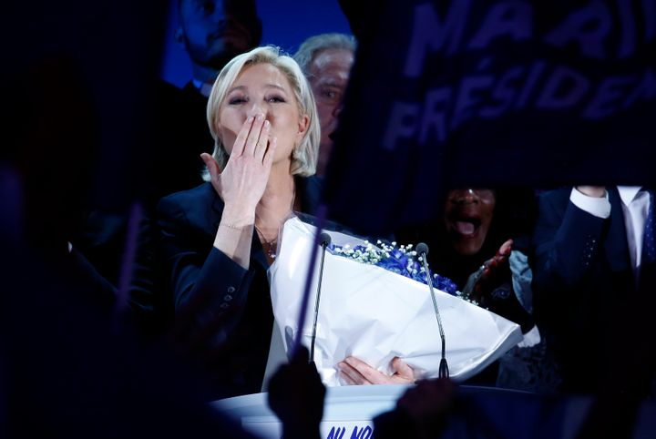 Marine Le Pen thanks supporters in Henin-Beaumont.