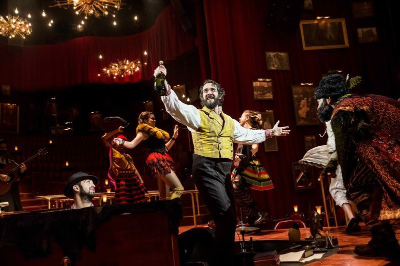 Pierre (Josh Groban) and Balaga (Paul  Pinto) party it up while swirling around the audience in <em>The Great Comet</em>