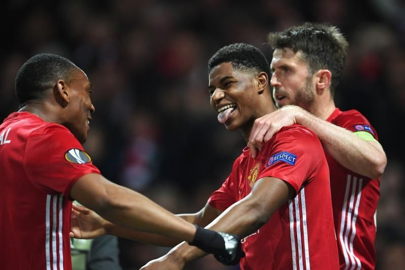 Manchester United striker celebrates after scoring the winner in the 3:2 Europa League quarter-final at Old Trafford.