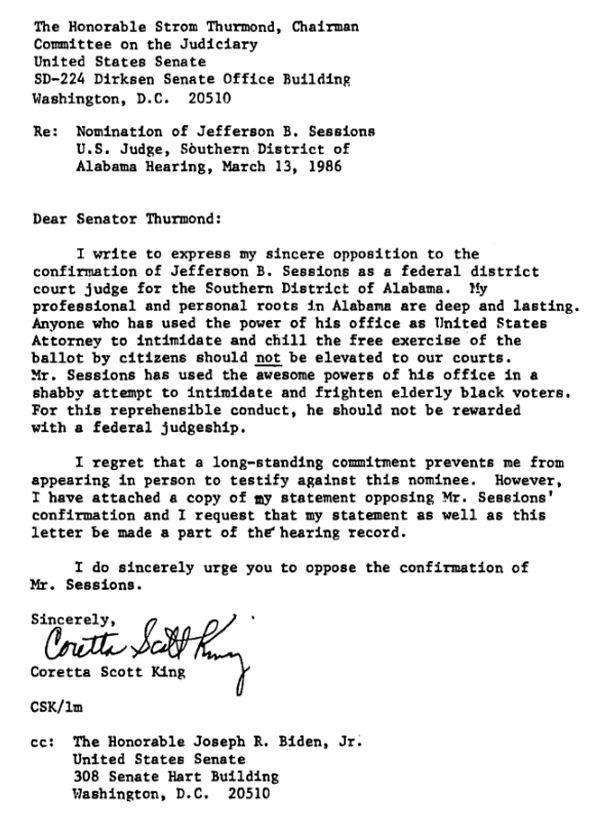 letter from Coretta Scott King to Senator Strom Thurmond.