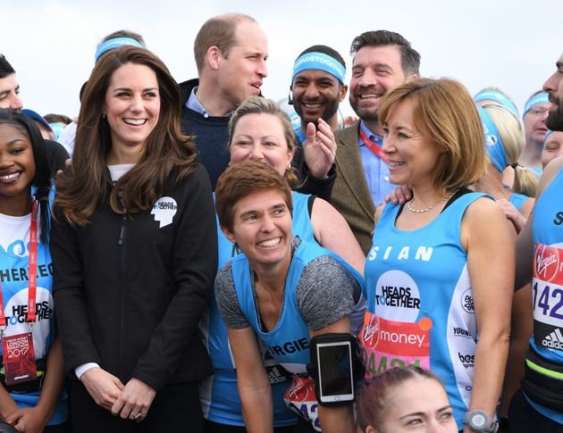 Sian at the starting line with the Duke and Duchess of