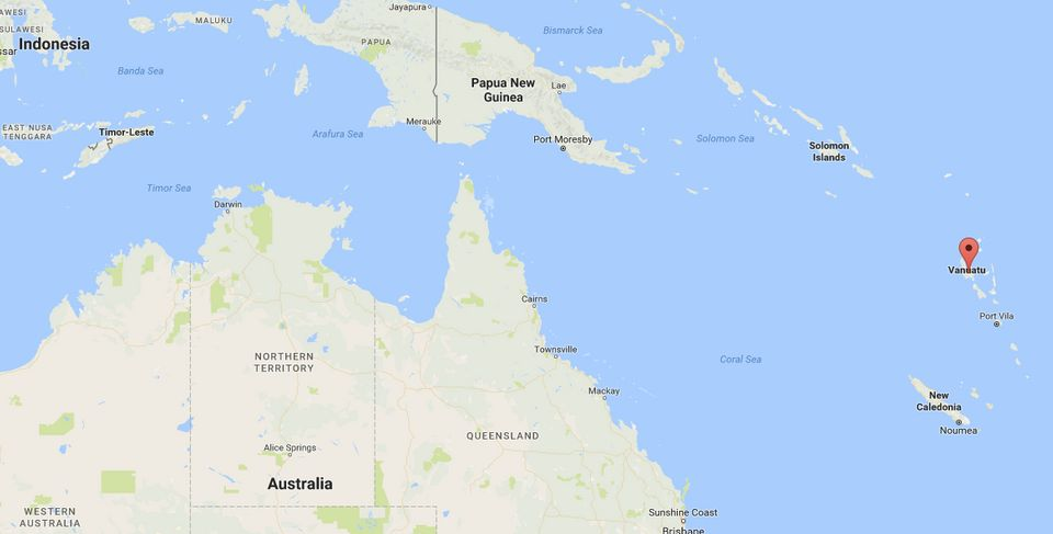 Vanuatu, marked with a red pin on this map, is locatedsoutheast of New Guinea. The island of New...
