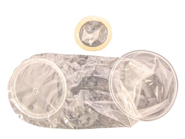 Above: a male condom / Below: a female