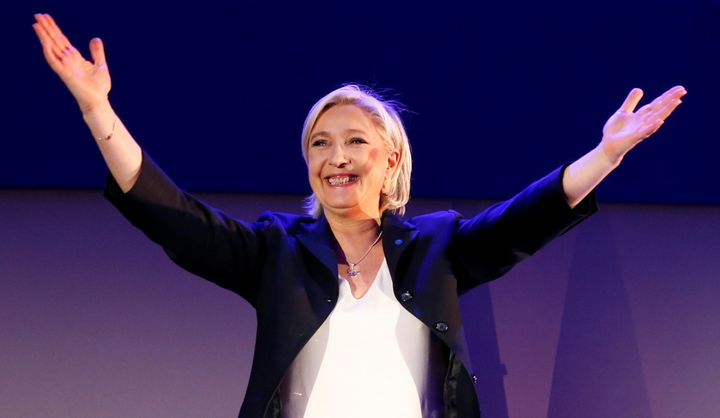 Marine Le Pen, French National Front political party leader and candidate for the French presidential election, celebrates af