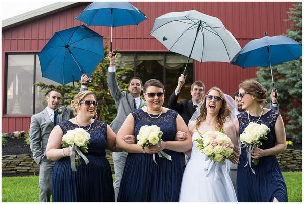 """A little rain on their wedding day didn't keep this crew from having a good time. Kathy and Andy were married in New Cumberl"