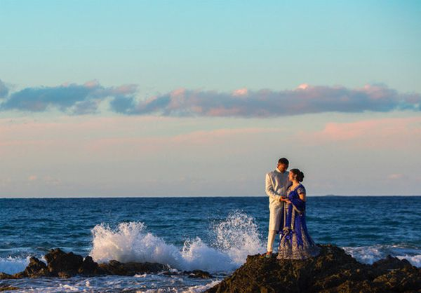 """Holly Brown and Nimit Patidar merged their lives and cultures in a beautiful sunset wedding on Vieques Island, Puerto Rico."""