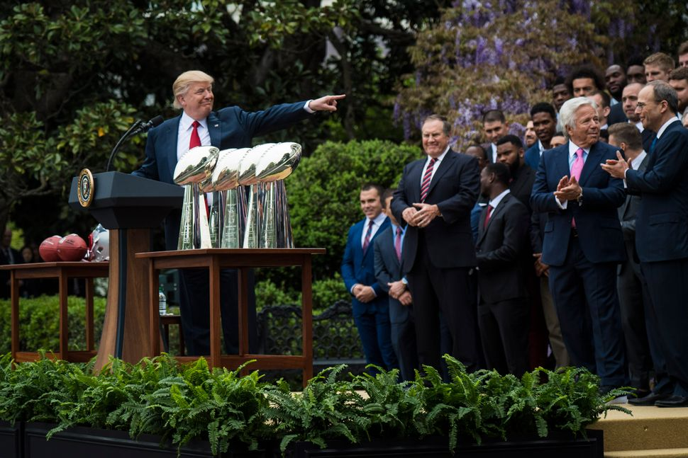 Trump speaks during a ceremony where he honored the Super Bowl Champion New England Patriots for their Super Bowl LI victory