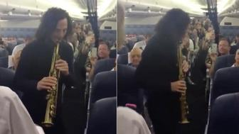 Jazz legend Kenny G was filmed serenading Delta airline passengers during a flight from Florida to California