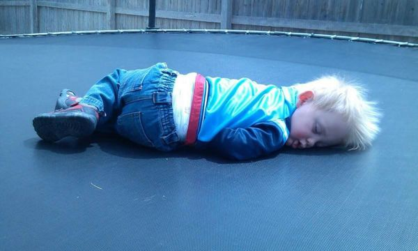 Jumping on the trampoline is hard!!