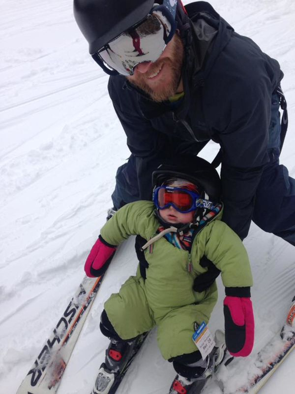"His first time skiing, while going down the hill! ""Stand up buddy...Leo? Leo?"" He was snoozing away... he just didn't want to"
