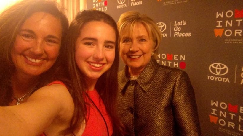 Isolde Fair with her mother, Starr Parodi, and Hillary Clinton backstage at the #WITW Summit.