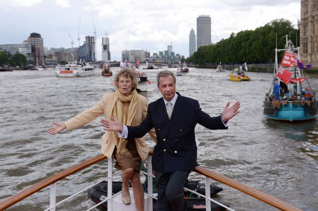 Nigel Farage and Kate Hoey on board a boat taking part in a Fishing for Leave pro-Brexit