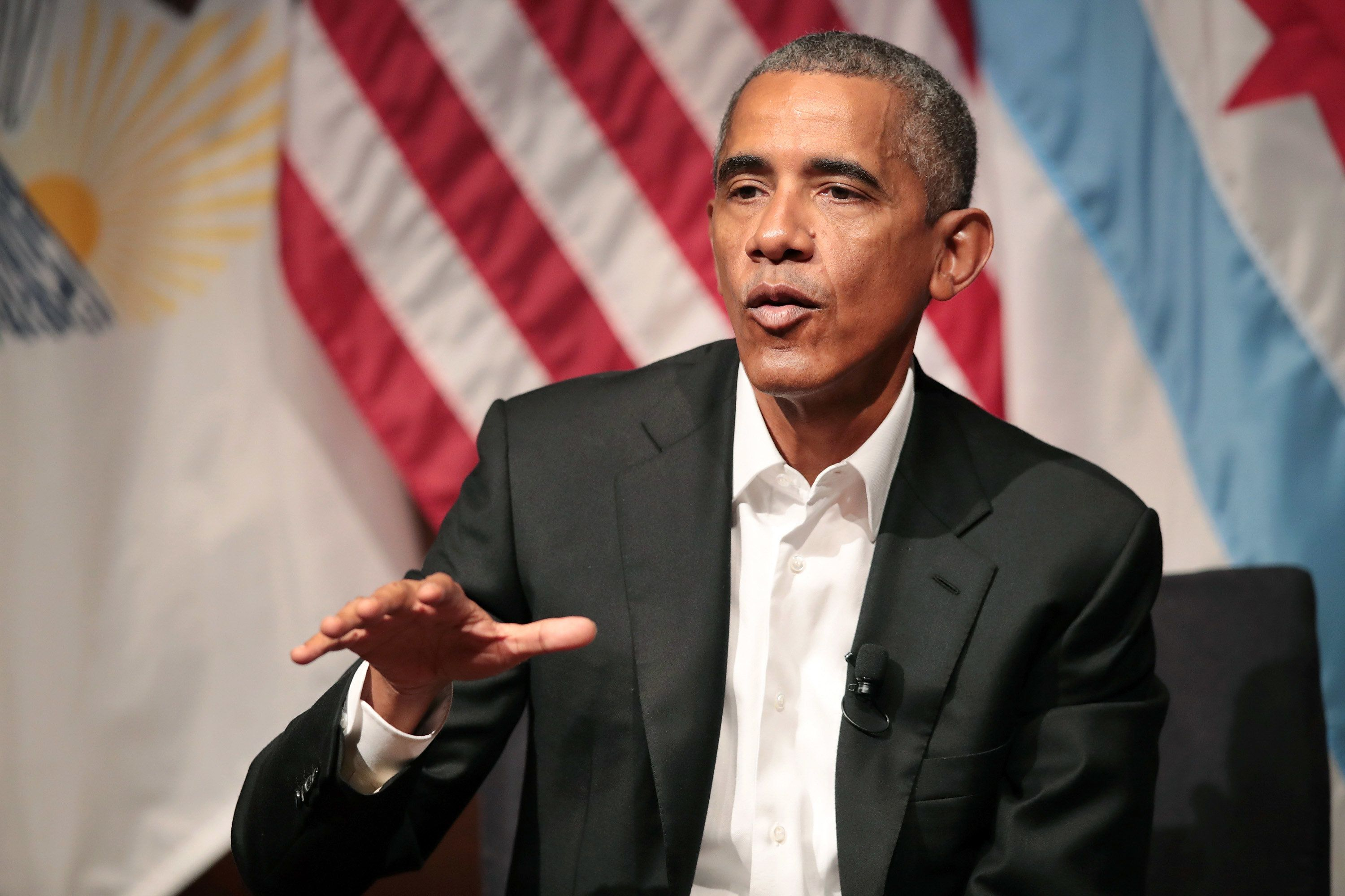 CHICAGO, IL - APRIL 24:  Former U.S. President Barack Obama visits with youth leaders at the University of Chicago to help promote community organizing on April 24, 2017 in Chicago, Illinois. The visit marks Obama's first formal public appearance since leaving office.  (Photo by Scott Olson/Getty Images)