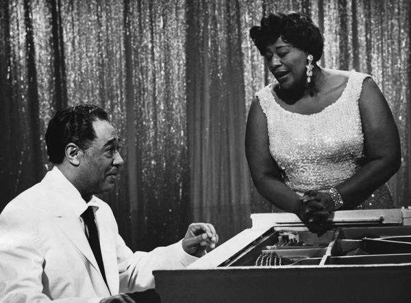 An undated picture of music greats Duke Ellington and Ella Fitzgerald.
