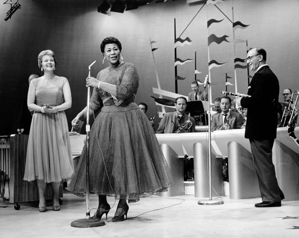 A photo of Ella Fitzgerald performing onstage in 1970.