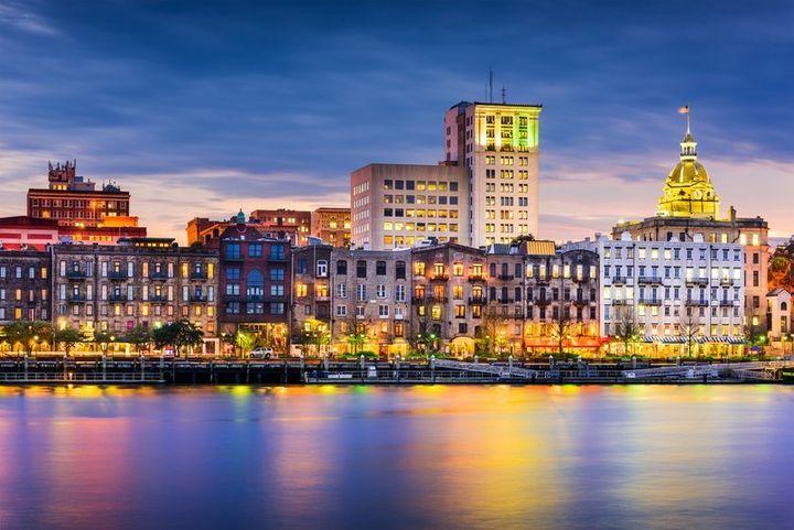 Savannah's downtown skyline as seen from across the Savannah River.
